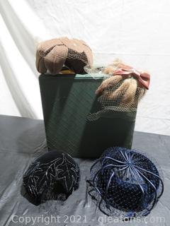 Four Vintage Ladies Hats and Storage Box