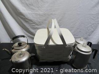 Vintage Picnic Basket and Four Coffee/Tea Pots