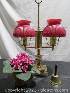 Vintage Victorian Style Brass Double Armed Electric Lamp and More