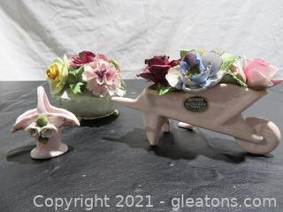 Two Radnor English Bone China Flower Arrangements and More
