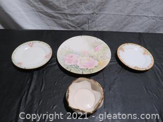 Three Beautiful China Plates and Bowl