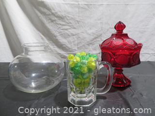 Fostoria Coin Glass, Stein of Marbles and Glass Vase