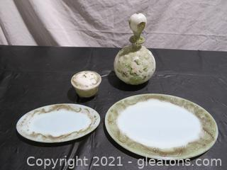 Antique Dithridge Milk Glass Set