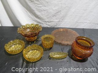 Amber Glass Pieces (7)