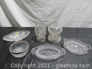 Six Glass Serving Dishes