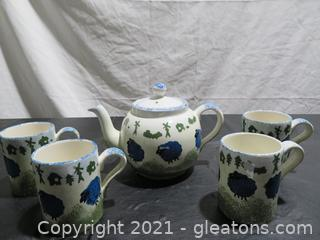 Hand Painted Price Kensington Tea Pitcher and Four Mugs