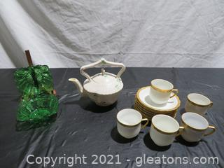 Charming Teapot, Cups and Saucers and Green Bowls