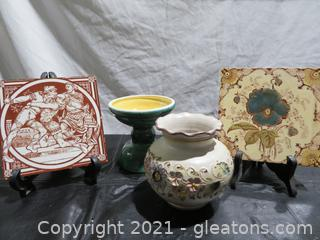 Two Beautiful Trivets, Vase and Candle Holder