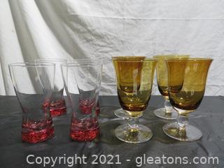 Four Pretty in Pink Glasses and Four Gold Southern Living Arlington Amber Tea Goblets