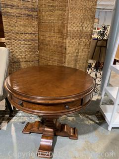 Stanley Wood Inlay Pedestal Foyer Table