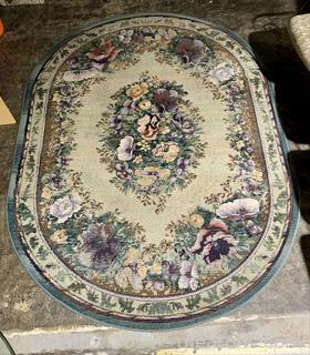 Colorful Oval Floral Area Rug