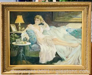 Charming Woman Framed Canvas