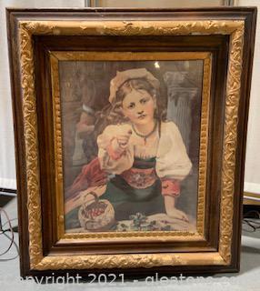 """Vintage Framed """"Girl Offering a Strawberry"""""""