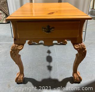Beautifully Carved Pine End Table II