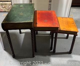 Trio of Book Inspired Nesting Tables