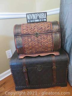 Two Decor Chests and Sign