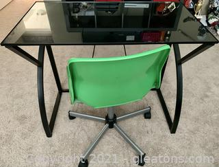Contemporary Black Desk with Green Swivel Chair