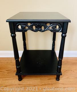 Ebony Vintage Wood Carved Accent Table