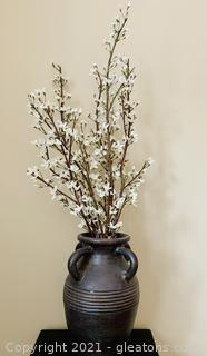 Rustic Pier One Clay Vase with Long Stemmed Flowers