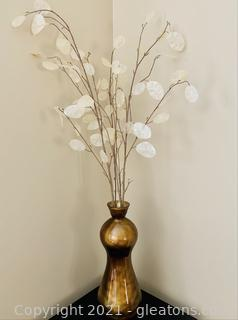 Perfect Gold Hour Glass Vase with White Leaf Bouquet