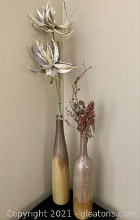 2 Bottle Style Vases with Nature Inspired Flowers