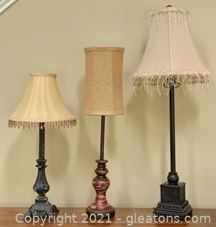 3 Fancy Tall Table Lamps