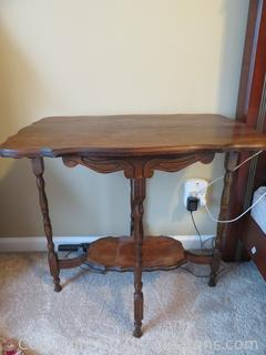 Antique Carved Spindle Table