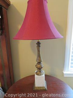 Exquisite Marble and Brass Table Lamp