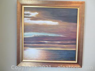 Calm Ocean Painting in Beautiful Frame