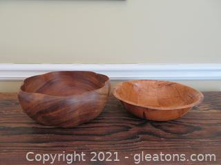 Two Wooden Bowls