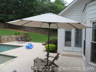 Outdoor Umbrella (With Lights) and Stand