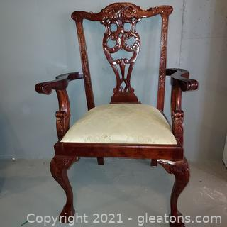 Gorgeous Chippendale Dining Arm Chair with Intricate Carvings