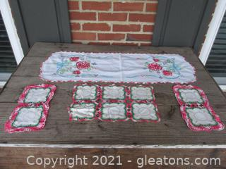 Beautiful Linen Hand Crocheted and Hand Embroidered Table Runner and Doilies