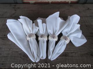 5 Cloth Napkins and 4 Porcelain Napkin Rings