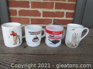 Four Coffee Mugs = Closed for Business  by Norman Rockwell / Georgian Hills Restaurant Milk Glass Mug by Anchor Hocking / Wyler's Deef Bouillon Milk Glass Mug  / Porcelain Otagiri Cat Mug by  Bob Harrison