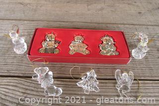 3 Gorham Silver-plated Teddy Bear Ornaments and  5 Acrylic Ornaments
