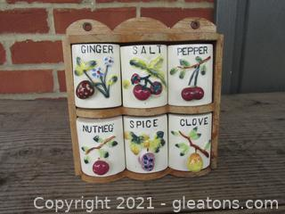 Vintage Spice Set with Wood Storage Rack & Ceramic Container