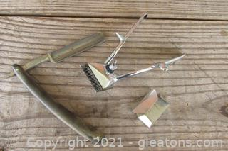 Shave and A Hair Cut :0)  Vintage Haslam Germany Hand Held Manual Hair Clippers / Unbranded Straight Edge Razor