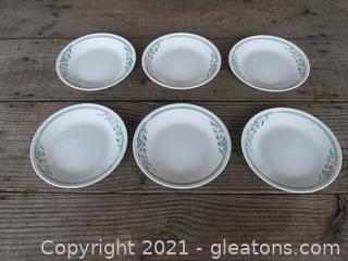 """Corelle by Corning """"Rosemarie """" Tulips Pattern Set of 6 Bread Dessert Plates [ 6 3/4 inches in diameter ]made in the USA"""