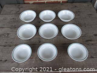 """Corelle by Corning """"Rosemarie """" Tulips Pattern Set of 6 Cereal Bowls [6 1/8 inches in diameter]  And 3 Dessert Bowls [5 1/4 inches in diameter]made in the USA"""