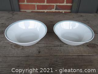"""Corelle by Corning """"Rosemarie """" Tulips Pattern  2 Vegetable Serving  Bowls made in the USA  [8 1/2 inches in diameter]"""