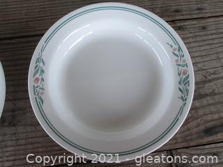 """Corelle by Corning """"Rosemarie """" Tulips Pattern Set of 4 Soup Bowls made in the USA  [8 1/2 inches in diameter]"""