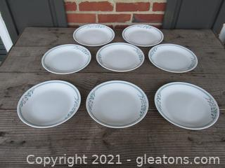 """Corelle by Corning """"Rosemarie """" Tulips Pattern Set of 8 Luncheon Plates [ 8 1/2 inches in diameter ]made in the USA"""