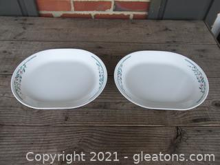 """Corelle by Corning """"Rosemarie """" Tulips Pattern 2 Oval Serving Platters  [ 12 inches by 10 inches ] made in the USA"""