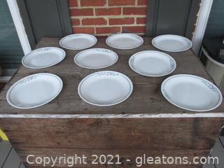 """Corelle by Corning """"Rosemarie """" Tulips Pattern Set of 9 Dinner Plates [ 10 1/4 inches in diameter ] made in the USA"""