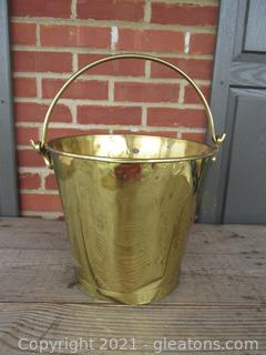 Brass Bucket / A bit Beat-up  See Photos / 10 1/4 inches tall  not including handle / 12 inches in diameter at the top