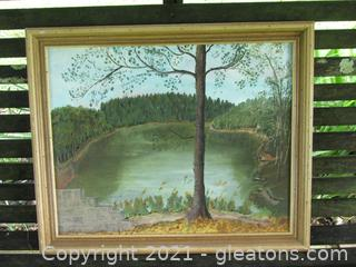 Vintage Painting on Canvas Signed  by Artist Harold Cartee