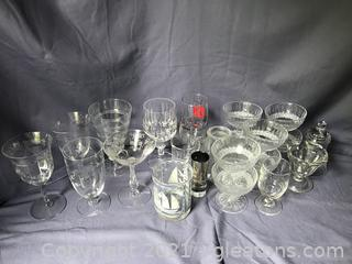 set of 8 sherbets and other miscellaneous glasses