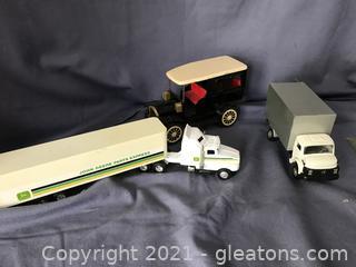 Old tin Litzy fetlock John deer truck and cast box truck