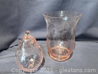 Pretty Pink crackle vase and pear